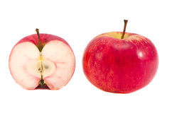 Isolated red apple and apple slice Royalty Free Stock Photography