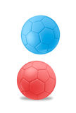 Isolated red and blue football balls Stock Image