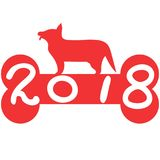 Red bone 2018 dog year background Stock Images