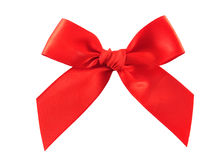 Isolated red bow. Red gift bow isolated on white background stock photography