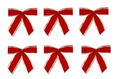 Isolated Red Bows. Christmas bows for decoration isolated on white background Stock Photo
