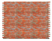 Isolated red brick wall Royalty Free Stock Images