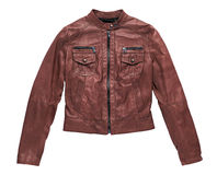 Isolated red brown leather jacket Stock Photos