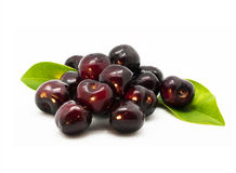 Isolated red cherries Stock Photos