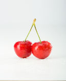 Isolated red cherries. On white Stock Photos