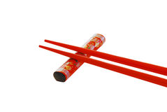 Isolated Red chop sticks Royalty Free Stock Photos