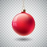Isolated Red Christmas ball on transparent background. Vector illustration. Royalty Free Stock Photography