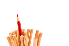Isolated red colored pencil stand out of other brown pencils Royalty Free Stock Photos