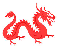 Isolated Red Dragon on White. Chinese Symbol. Isolated red dragon on white. Hand drawn ruddy chinese symbol reptilian traits of prosperity and welfare. Vector Royalty Free Stock Photo