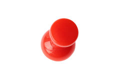 Isolated red drawing pin top view. Top view of red drawing pin isolated on white with clipping path royalty free stock images