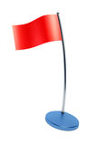 Isolated red flag on flagstaff Royalty Free Stock Photo