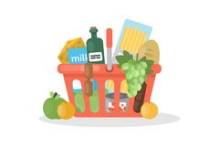 Isolated food basket. Royalty Free Stock Photo
