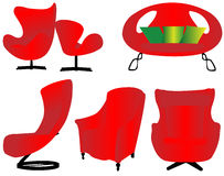 Isolated red furniture set Royalty Free Stock Images
