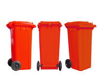Isolated red garbage bin. With clipping path Stock Photo