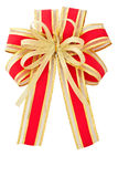Isolated red and gold ribbon. For gift or Christmas decoration Stock Image