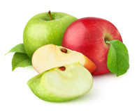 Isolated red and green apples Royalty Free Stock Photos
