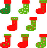 Isolated Red and Green Christmas Stockings. Isolated green and red Christmas stockings illustrations, Christmas decorations, Christmas stockings, Christmas Stock Images