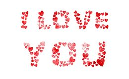 I Love You made of red grunge hearts. Isolated red grunge hearts showing I Love You royalty free illustration