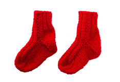 Isolated red handmade socks for christmas Stock Photography