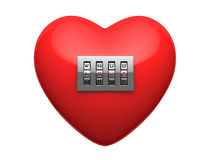 Isolated red heart with shiny metal code padlock Stock Photos