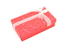 Isolated red holiday gift box Royalty Free Stock Photography
