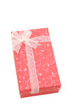 Isolated red holiday gift box, vertical Royalty Free Stock Photo