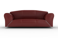 Isolated red leather sofa Royalty Free Stock Image