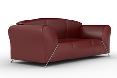 Isolated red leather sofa. An interior Stock Photos