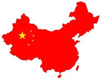 Isolated red map of China Royalty Free Stock Image