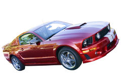 Isolated Red Mustang. Isolated Red Ford Mustang with White pin stripping Stock Image