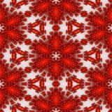 Isolated red orange fractal ornaments in white background. Red corner of frame. Royalty Free Stock Image