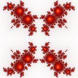 Isolated red orange fractal ornaments in white background. Red corner of frame. Stock Photography