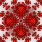 Isolated red orange fractal ornaments in white background. Red corner of frame. Stock Images