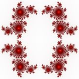 Isolated red orange fractal ornaments in white background. Red corner of frame. Stock Photo