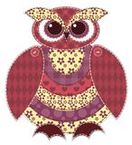 Isolated red patchwork owl Stock Image