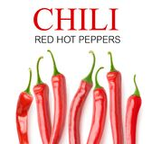 Isolated red peppers with copy space royalty free stock photos