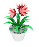 Isolated red pink houseplant in flowerpot Stock Photography