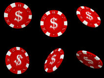 Isolated red poker chips. Six isolated red poker chips Stock Photos