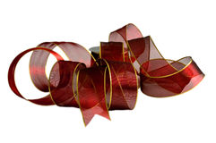 Isolated red ribbon. Red ribbon for trimming a Christmas gift Stock Image