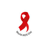 Isolated red ribbon disease awareness. World Aids Day concept. Stop virus icon. International support campaign for sick Royalty Free Stock Images