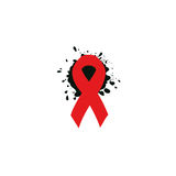 Isolated red ribbon disease awareness. World Aids Day concept. Stop virus icon. International support campaign for sick Royalty Free Stock Photo