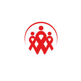 Isolated red ribbons disease awareness. Round shape human silhouettes logo. World Aids Day concept. Stop virus icon Stock Images