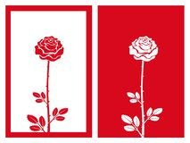 Red rose flower vector and illustration. Isolated red rose flower with framework,vector and illustration stock illustration