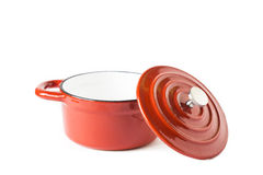 Isolated red saucepan Stock Photo