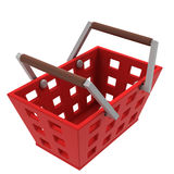 Isolated red shopping basket upper view Stock Image