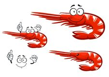 Isolated red shrimp cartoon character Royalty Free Stock Photography