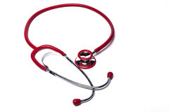 Isolated Red Stethoscope. On White Background stock photos