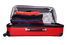 Isolated red suitcase Stock Photos