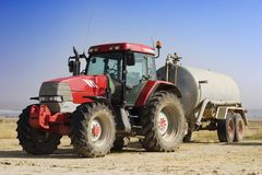 Isolated red tractor Royalty Free Stock Photo