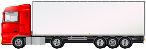Isolated red truck on white background Stock Photo